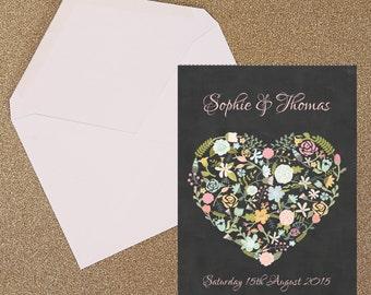 Flower Heart Wedding Invitation