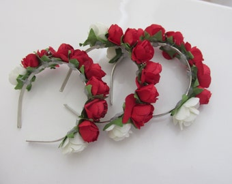 Red and white rose crown~ 1/4 BJD