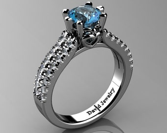 Classic 14K White Gold 1.0 Ct Blue Topaz Diamond Solitaire Engagement Ring R1027-14KWGDBT