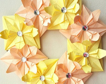 Handmade Flower Wreath: Peach and Pastel Yellow