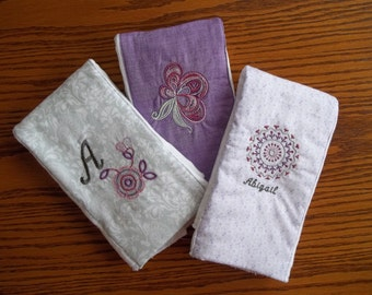 Personalized Burp Cloths - Set of Three (Purple)
