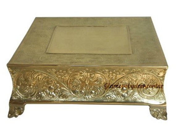 18 inch square wedding cake stand square 18 inch gold or silver cake stand square embossed 10076
