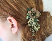 BEADED HAIR JEWELRY, Hanging Clip, Vintage Inspired by Designer Colleen Toland in Fall Leaf