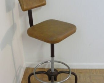 Mid Century Industrial Revolving Stool Chair