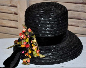 Black Straw Hat, Black Fruit Hat, Black Cellophane Hat, Cello Fruit Hat, Straw Hats, Black Hats, Vintage Hat, Black Belled Brim