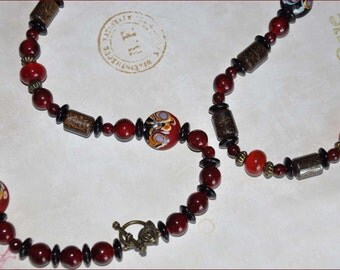 Lampwork Necklace, Burgundy Beads, 42 Inch Necklace, Garnet Jewelry, Long Beaded Necklace, Dark Brown Jewelry, Boho Jewelry, Red Lampwork