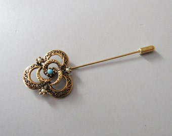 Vintage Signed Florenza Stick with Seed Pearls
