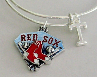 Red Sox MLB  CHARM Bangle -  Baseball  Charm W/ Initial Bangle -  Charm Bracelet - Gift For Her Mlb Sports Bangle - Usa Sp1