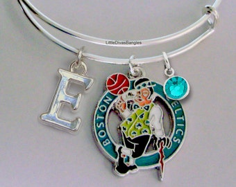 NBA Boston Celtics CHARM Bangle - w/ Initial / Birthstone  -Celtics Charm Bracelet - Stackable  Gift For Her NBA Sports Bangle - Usa  SP1