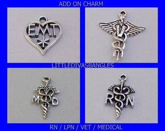RN /Lpn /  EMT Medical Add  On  Charm / Ot / Md / Cna / Personalize Your Bangle Nurse charms /  Medical  Charms / Under 20 - Gift  - Usa CH1