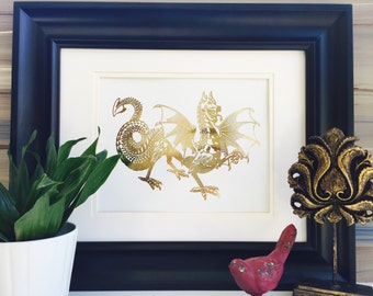 Dragon Print, gold dragon, Wall Art, Gold Foil Print, Dragon wall art, dragonvale, gold art, gold print