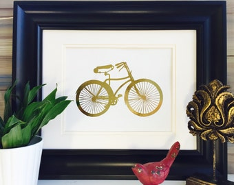 Bicycle Print, Gold Foil Art, Real Foil art, Vintage Bicycle, Gold print, Bicycle Wall Art, gold foil print, Gold art