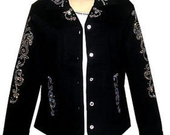 Black Curvy Bottom Crystal Button Jacket Aurora Borealis Design