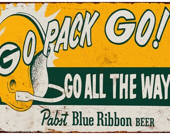 1961 Packers Pabst Blue Ribbon Beer Vintage Look Repro Metal Sign 8 x 12 8120026