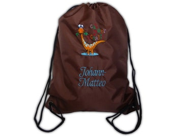 Gym bags laundry bags with Dino and name embroidered laundry bag