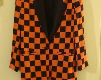 VTG Black and Orange checkered blazer 100% Silk