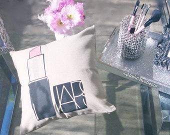 Pink designer lipstick pillow case