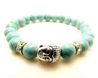 BUDDHA 8mm Natural Turquoise Beaded Silver Buddha Bracelet MENS / LADIES