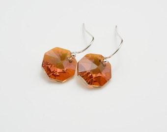 Crystal Copper Swarovski Elements Earrings, Octagon Drop Earrings