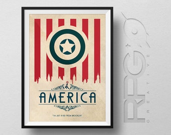 Captain America Origin Print : America - MARVEL