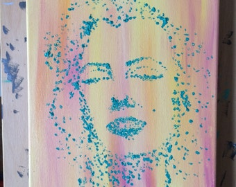 Marilyn, acrylic painting on canvas, 9x12, original