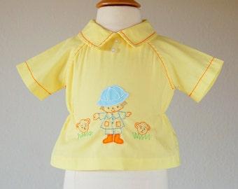 Vintage Baby Boy 3 to 6 months Yellow Shirt, Embroidered Safari Boy Monkey motif, size 3 months, size 6 months