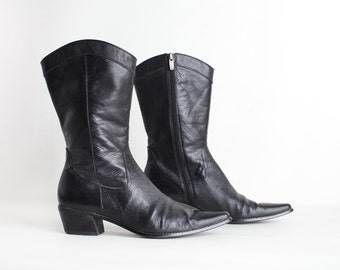 Women's Size 9 Black Leather Ankle Boots, Chunky Heel Pointed Toe Boots