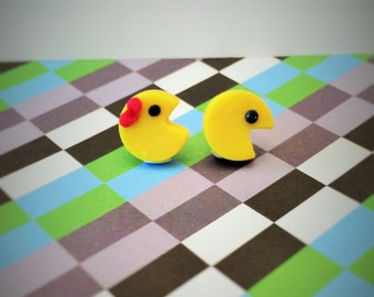 Mr. and Mrs. Pac-Man Polymer Clay Studs