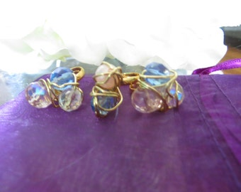 E.L.L.E. Crystal Wire Wrapped Three Ring Set