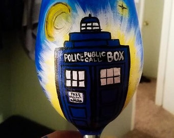 Starry Starry Dr. Who Wine Glass