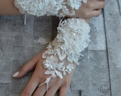 ivory wedding glove, Bridal Glove, ivory lace cuffs, lace gloves, Fingerless Gloves, bridal gloves  Free Ship