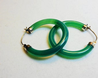 Green Onyx Hoop Earrings in Silver