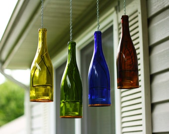 Four Hanging Wine Bottle Lanterns  - Outdoor Decor - Hanging Candle Holder - Gift for Mom - Outdoor Lighting - Hanging Votive Candles
