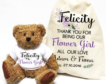 Flower girl wedding day gift personalised teddy bear with matching gift bag | Thank you flower girl favor.