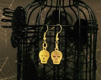 Skull Earrings Gold Tone