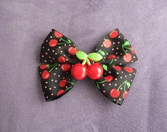 Cherry bow available with various ribbon colours