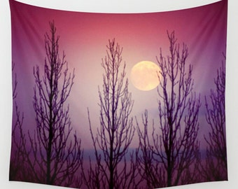 Moon tapestry, purple tapestry, large wall art, tapestry wall hanging, full moon, large wall hanging, purple home décor, twilight, moon art