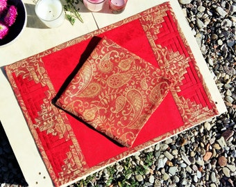 Classic Red Linen Patchwork Placemat with Gold Paisley Border