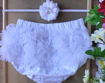 Baby Bloomers Set Ruffle Cotton Diaper Cover Girl Skinny Elastic Flower Headband Photo Prop Outfit