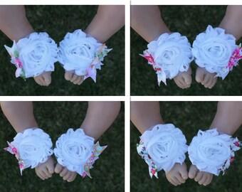 Baby Barefoot Sandals Girl Shabby Flower Shoes Handmade