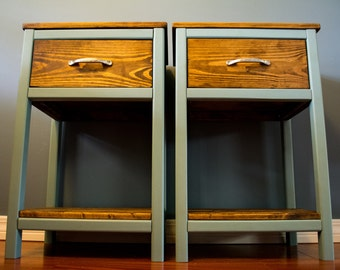 Painted & Stained Nightstands - Scarborough/Early Spring Variation