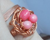 Bird Nest Ring, 3  Red Coral  Beads in Copper Wire wrapped Nest. Handmade forging.