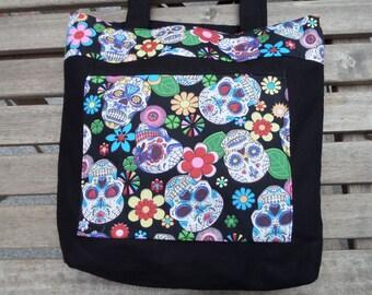 sugar skull bag, tote, handbag, shoulder bag, handmade, sugar skull print, alternative, Mexican, day of the dead, goth