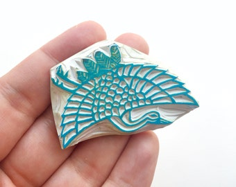 Abstract peacock stamp, hand carved peacock stamp, peacock rubber stamp, bird stamp, handmade peacock rubber stamp, hand carved stamp