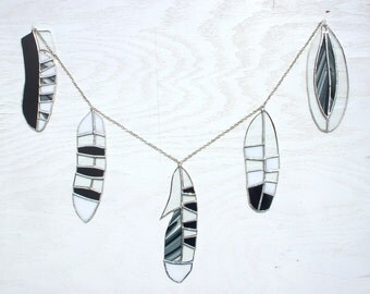 Stained Glass Feathers - Set of Five: Owl, Blue Jay, Eagle, Woodpecker. Lead-Free