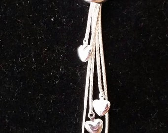 5 Heart SS lariat necklace