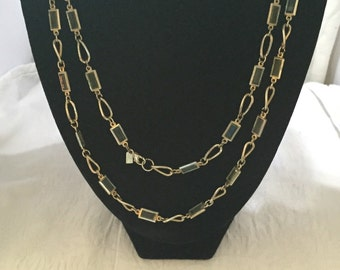 Two Sisters glass and gold tone link chain necklace