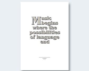 Music Quote: Typographic quote by Jean Sibelius