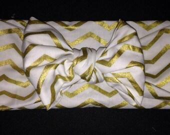 Gold and White Chevron Tie Wrap