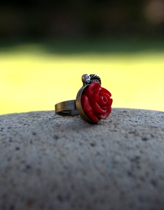 SALE Belle Beauty and the Beast Ring, Belle Cosplay Ring, Adjustable Rose Ring, Red Rose Ring, Antique Bronze Princess Belle Ring